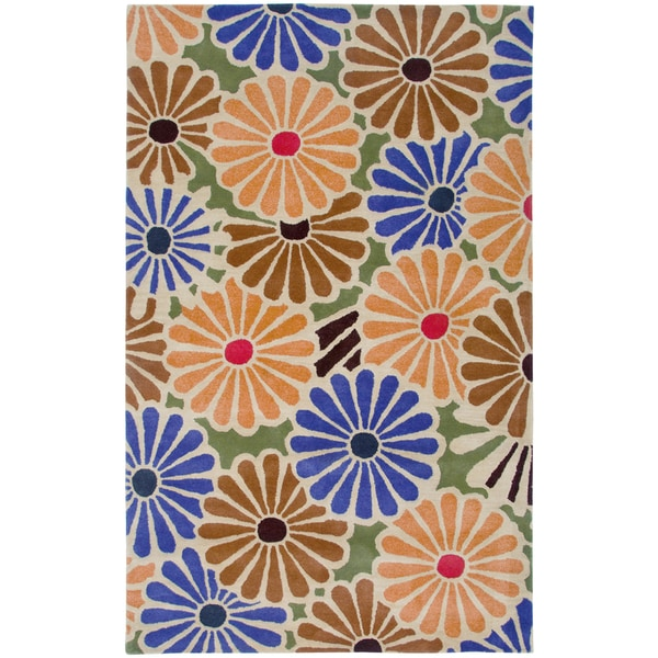 Rizzy Home Pandora Multicolored Wool Hand-tufted Floral Area Rug (8' x 10') - 8' x 10'