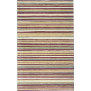 Rizzy Home Platoon Plum Wool Hand-tufted Stripes Area Rug - 8' x 10'