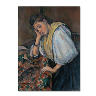 Cezanne 'Young Italian Woman At A Table' Canvas Art