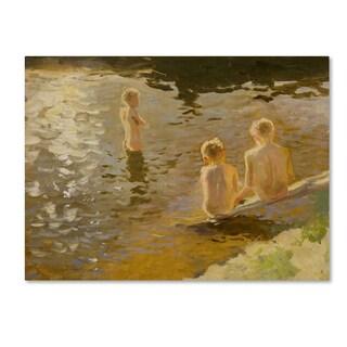 Johann Walter Kurau 'Boys Bathing' Canvas Art