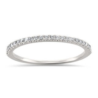 Montebello Jewelry 14k White Gold 1/7ct TDW Round-cut Thin Band Wedding Ring (H-I, I1-I2) - White H-I