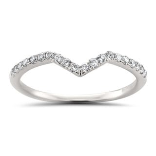 Montebello Jewelry 14k White Gold 1/5ct TDW Round-cut White Diamond Chevron Wedding Band (H-I, I1-I2) - White H-I