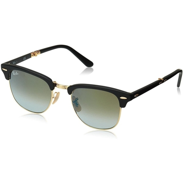 1134abdbb315 Shop Ray-Ban RB3483 Clubmaster Folding Black   Gold Frame Green Gradient  Flash 51mm Lens Sunglasses - Free Shipping Today - Overstock - 16945045