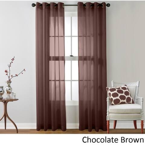 HLC.ME Sheer Voile Grommet Top Curtain Panel Pair
