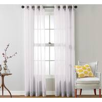 HLC.ME Sheer Voile Grommet Top Curtain Panel Pair