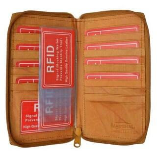 Marshal Genuine Leather Zip Around Credit Card Organizer Wallet