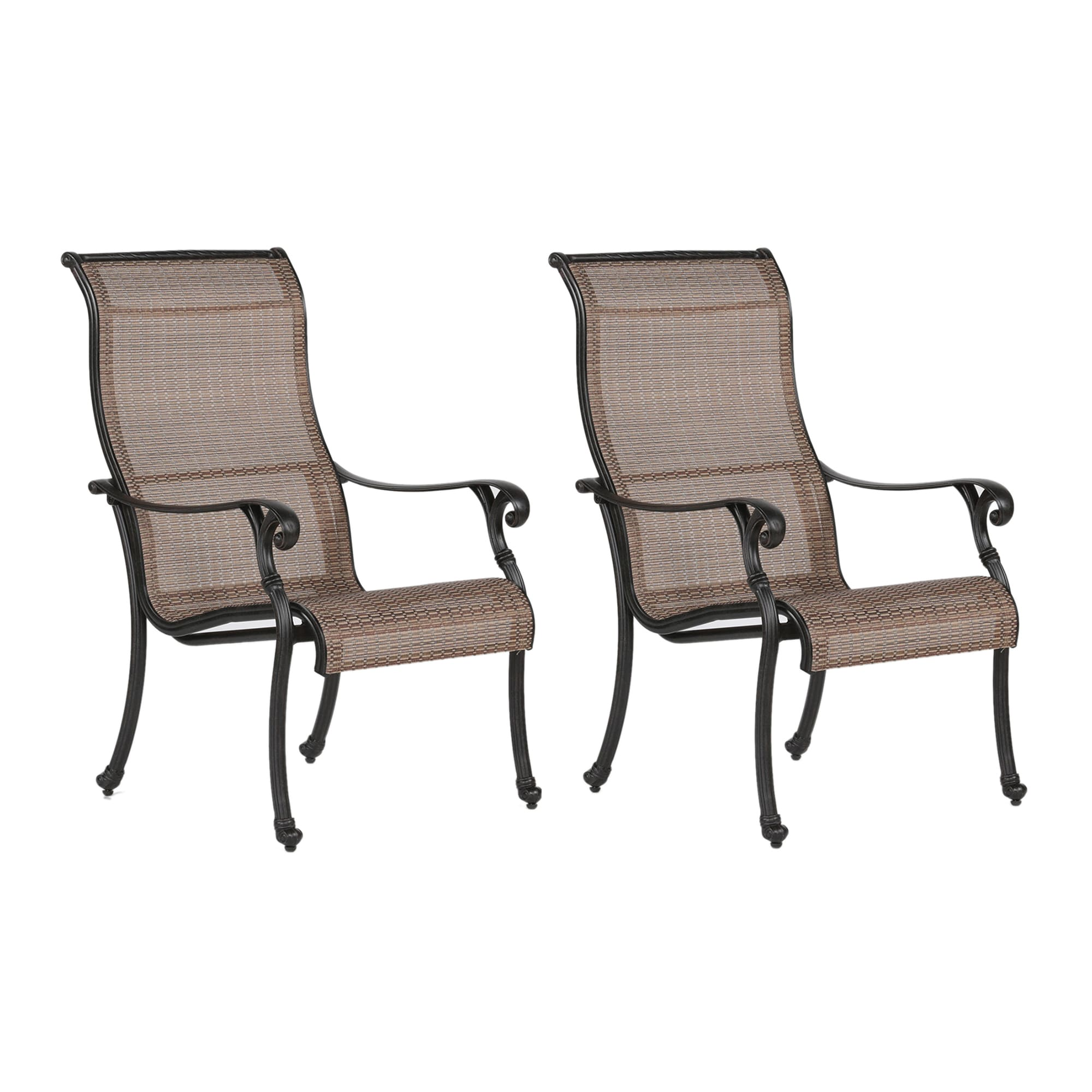 Shop yorkshire brown black synthetic fiber aluminum sling dining chair free shipping on orders over 45 overstock com 16945203