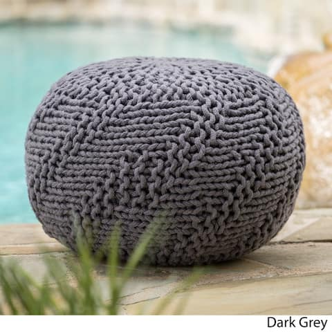 Hazel Outdoor Round Weave Fabric Ottoman Pouf by Christopher Knight Home