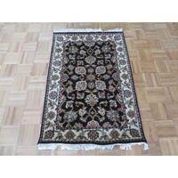 Black Agra Wool Handknotted Oriental Rug - 2'8 x 3'