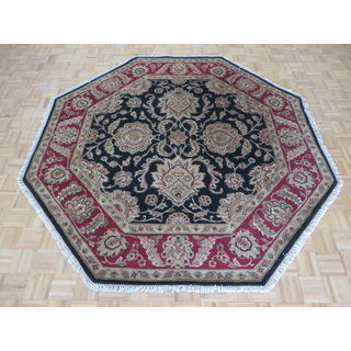 Hand-knotted Agra Black Wool Oriental Rug (7'11 x 8')