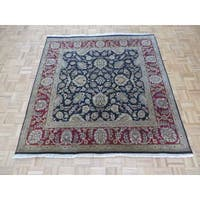 Hand-knotted Fine Agra Black 100% Wool Oriental Rug (6'0 x 6'4)