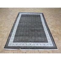 Herati Tabriz Black Silk Blend Hand-knotted Oriental Rug - 6'6 x 9'8