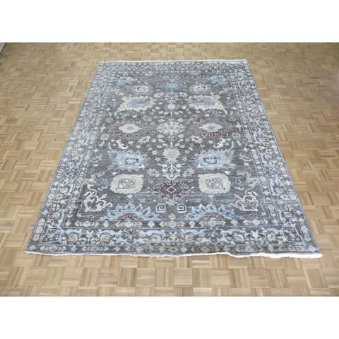 Oushak Grey Bamboo Silk Hand-knotted Oriental Rug - 8'5 x 11'