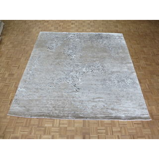 Grey Rayon From Bamboo Hand-knotted Oriental Rug - 10'0 x 10'3