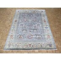 Grayish Blue Oushak/Bamboo Silk Oushak Oriental Rug - 7'7 x 9'8