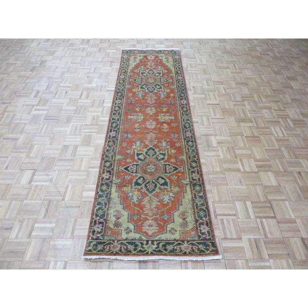 Hand Knotted Heriz Wool Fine Persian Oriental Area Rug: Shop Serapi Heriz Rust Orange Wool Hand-knotted Oriental