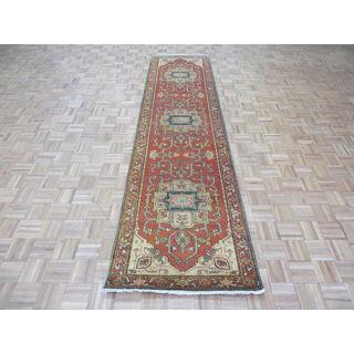 Hand-knotted Fine Serapi Heriz Rust Orange Wool Oriental Rug (3'0 x 11'10)