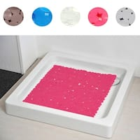 Evideco Non Skid Square Shower Mat Design Pebbles 19W X 20L