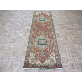 Fine Serapi Heriz Rust Orange Wool Hand-knotted Oriental Rug (3' x 9'9)