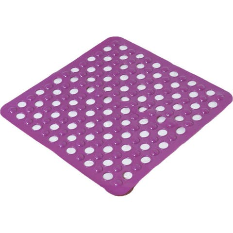 Evideco Non Skid Square Shower Mat with Holes 20x20