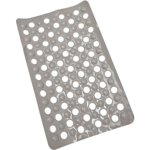 Non Skid Bath Tub Mat with Holes Suction Cups 23.5 Lx 15 esW Solid Colors Taupe
