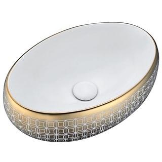 Anzzi Sona Series Goldtone Geometric Ceramic Vessel Sink
