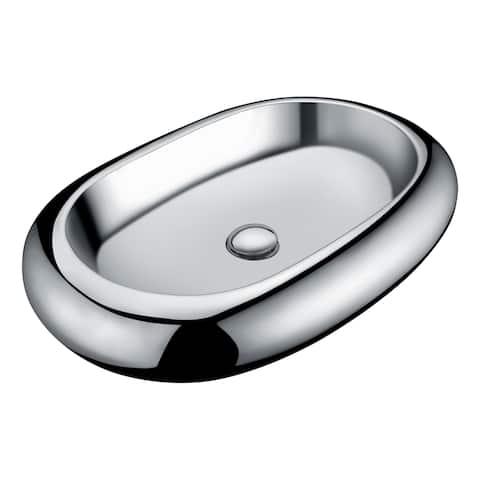 ANZZI Prussian Series Ceramic Vessel Sink in Silver
