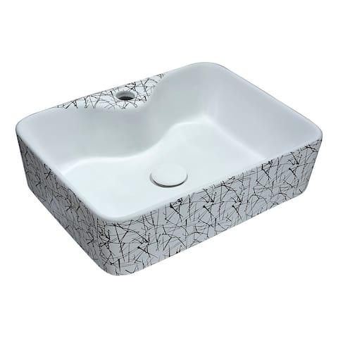 ANZZI Belgian Stitch Series Ceramic Vessel Sink in Grey