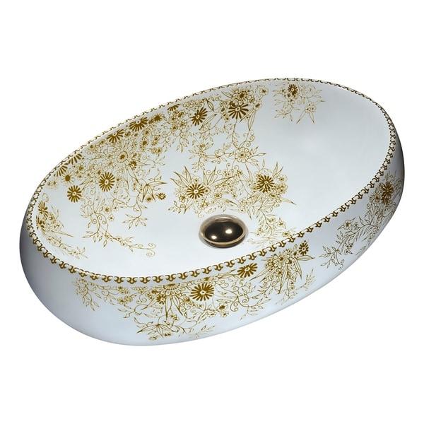 ANZZI Breeze Series Ceramic Vessel Sink in Floral Gold