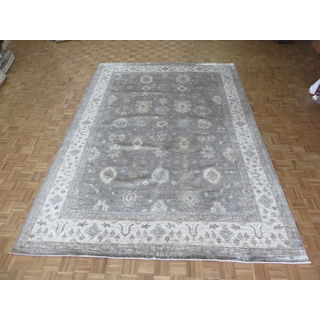 Silver/Blue Rayon From Bamboo Hand-knotted Oushak Oriental Rug (9'9 x 13'9)