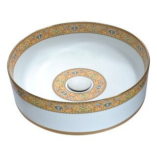 ANZZI Byzantian Series Ceramic Vessel Sink in Mosaic Gold
