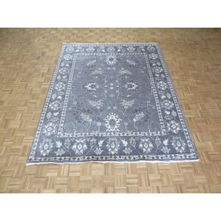 Oushak Silvertone/Grey Wool Hand-knotted Oriental Rug - 8'0 x 9'11