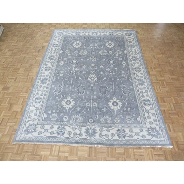 Vegetable Dyed Hand Knotted Floral Oushak Ivory Persian: Shop Silver/Grey Wool Hand-knotted Oushak Oriental Rug
