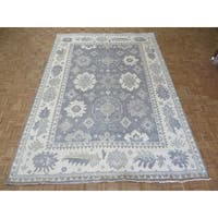 Oushak Silver/Grey Wool Oriental Hand-knotted Area Rug - 9'11 x 13'9