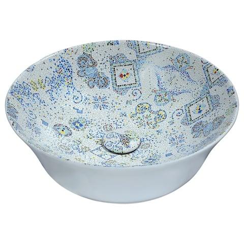 ANZZI Byzantian Series Ceramic Vessel Sink in Mosaic White