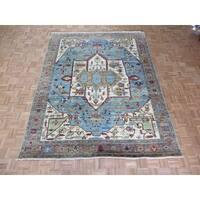 Hand-knotted Serapi Heriz Sky Blue Wool Oriental Rug - 7'10 x 9'10