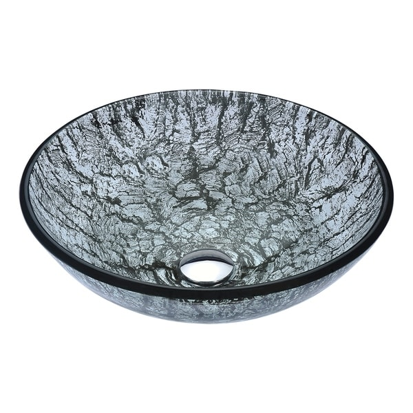 ANZZI Posh Series Deco-Glass Vessel Sink in Verdure Silver