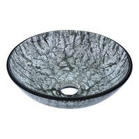 ANZZI Posh Series Deco-Glass Vessel Sink in Verdure Silver
