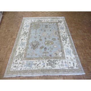 Oushak Soft Blue Wool Hand-knotted Oriental Rug (9' x 11'11)