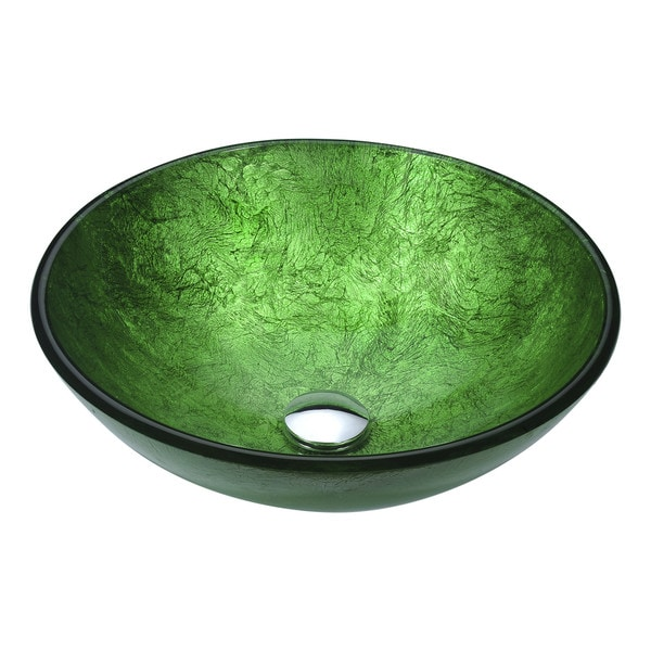 ANZZI Posh Series Deco Glass Vessel Sink In Celestial Green