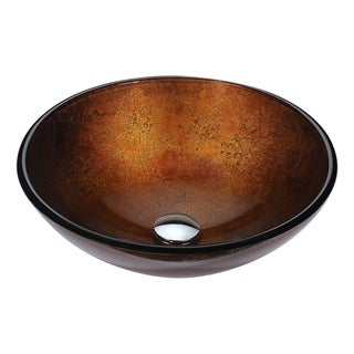 Anzzi Posh Series Amber Gold-tone Deco-glass Vessel Sink