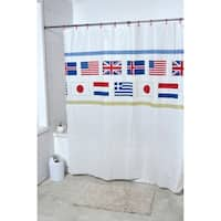 Evideco Bathroom Printed Shower Curtain Oslo with 12 White Rings