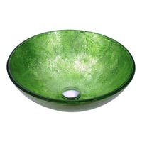 ANZZI Posh Series Deco-Glass Vessel Sink in Golden Green