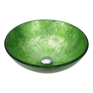ANZZI Posh Series Deco Glass Vessel Sink In Golden Green