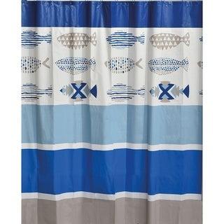 Evideco Bathroom Printed Peva Liner Shower Curtain Nautical