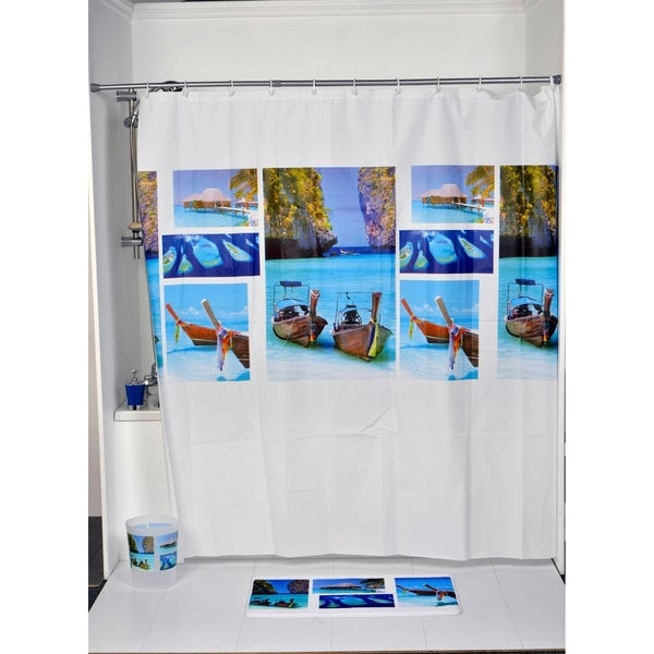 Evideco Bathroom Printed Peva Shower Curtain Paradise