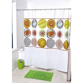 Evideco Bathroom Printed Shower Curtain Maya with 12 White Rings