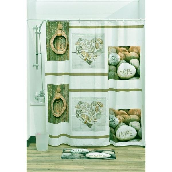 Evideco Bathroom Peva Liner Shower Curtain Design Nature