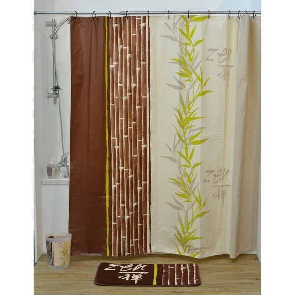 Evideco Bathroom Printed Peva Shower Curtain Jade