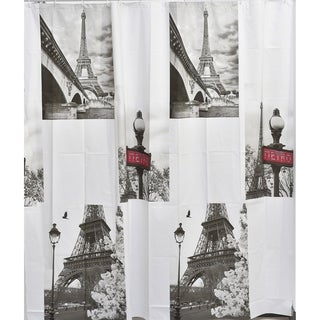 Evideco Bathroom Printed Peva Liner Shower Curtain Paris City